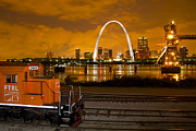 Railroads Photo Metal Prints - The FTRL Railway with St Louis in the background Metal Print by Garry McMichael