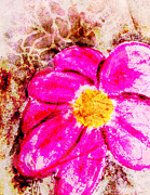 Fuschia Mixed Media Prints - The Fuschia Flower Print by Malinda Kopec