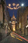 Cylinder Posters - The Galata Tower Poster by Ayhan Altun