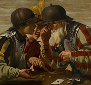 Helmet Paintings - The Gamblers by Hendrick Ter Brugghen