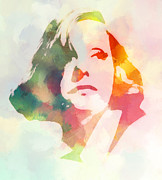 Actress Mixed Media Metal Prints - The Garbo 2 Metal Print by Stefan Kuhn
