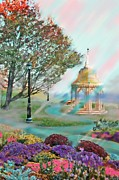 Gazebo Wall Art Prints - The Garden in Bar Harbor Maine Print by Earl Jackson