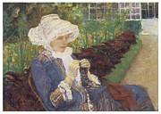 The Garden Print by Mary Cassatt