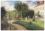 Camille Pissarro Framed Prints - The Garden of Les Mathurins at Pontoise Framed Print by Camille Pissarro