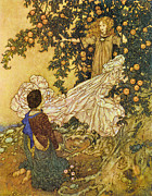 Fairies Posters - The Garden of Paradise III Poster by Edmund Dulac
