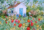 Shed Painting Posters - The Garden Shed Poster by Sherri Crabtree