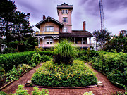 Patio Prints - The Gardens of Hereford Inlet Lighthouse Print by Mark Miller