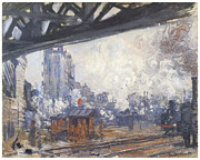 Gar Painting Posters - The Gare Saint-Lazare outside View Poster by Claude Monet