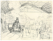 Monet Drawings Prints - The Gare Saint-Lazare suburban lines Print by Claude Monet