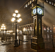British Columbia Posters - The Gastown Steam Clock Poster by James Wheeler