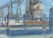 Industrial Pastels Originals - The Gate by Donald Maier