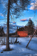 New England Winter Scene Framed Prints - The Gatehouse Framed Print by Joann Vitali