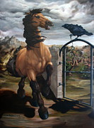 Spanish Horses Paintings - The Gatekeeper by Lisa Phillips Owens