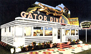 Vintage Diner Framed Prints - The Gator Diner - St Petersburg Florida Framed Print by Digital Reproductions