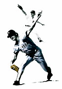 Lightning Drawings Prints - The Gator  Ron Guidry  Print by Iconic Images Art Gallery David Pucciarelli