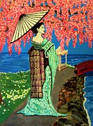 Cherry Blossoms Painting Prints - The Geisha Print by Victoria Rhodehouse