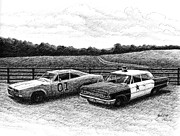 Andy Griffith Drawings - The General Lee and Barney Fifes Police Car by Janet King