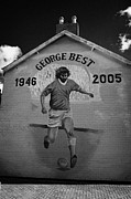 Murals Prints - The George Best memorial mural on the lower Cregagh Road in Belfast Northern Ireland Print by Joe Fox