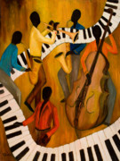 African-american Painting Framed Prints - The Get-Down Jazz Quintet Framed Print by Larry Martin