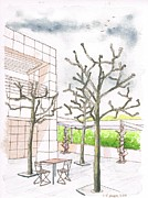 Nature Center Paintings - The Getty Center in winter - Los Angeles - CA by Carlos G Groppa