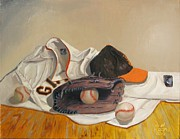 Baseball Glove Painting Posters - The Giant Sleeps Tonight Poster by Ryan Williams