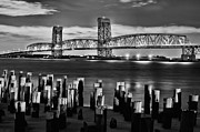 Moonlit Night Prints - The Gil Hodges Bridge Print by JC Findley