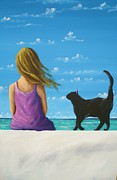 Caribbean Sea Paintings - The Girl And The Cat by Stefania Zuanella