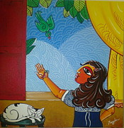 Mangala Shenoy - The girl and the parrot