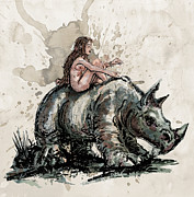 Profile Mixed Media Prints - The Girl and the Rhino Print by David Finley