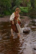 Stepping Stones Prints - The Girl from Alvdalen Print by Anders Leonard Zorn