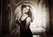 Statue Portrait Photo Prints - The girl in the hallway Print by Erik Brede