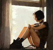 Professional Paintings - The Girl in the Window by Stefan Kuhn