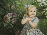 Eugene Maksim Prints - The girl next to roses Print by Eugene Maksim
