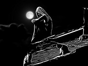 Moonlight Paintings - The Girl on the Roof by Stefan Kuhn
