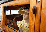 Car Window Framed Prints - The Girl The Hat The Woodie Framed Print by Ron Regalado