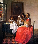 Women With Wine Prints - The Girl With A Wine Glass  Print by Johannes Vermeer