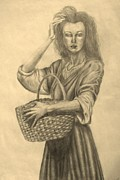 Gathering Drawings Framed Prints - The Girl with the Basket Framed Print by Ruslana Lev