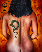 Chinese Woman Framed Prints - The Girl With The Dragon Tattoo edit 3 Framed Print by Leah Saulnier The Painting Maniac