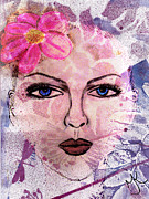 Fuschia Mixed Media Prints - The Girl with the Flower in Her Hair Print by Malinda Kopec
