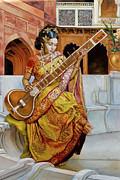 Dominique Amendola Prints - The girl with the sitar Print by Dominique Amendola