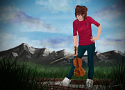 Violin Digital Art - The girl with the violin - Lindsey Stirling by Richard Eijkenbroek