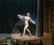 Red Female Nude Paintings - The Girlie Show by Edward Hopper
