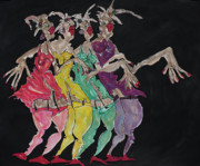 Singing Mixed Media Originals - The Girls  by Suzanne Macdonald