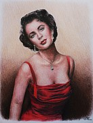 Actors Drawings Posters - The glamour days Elizabeth Taylor Poster by Andrew Read