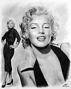 Movie Star Drawings Metal Prints - The Glamour days Marilyn Monroe Metal Print by Andrew Read