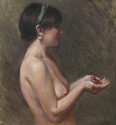 Silver Nude Paintings - The Glass Sparrow by Anna Bain