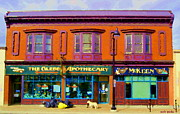Drug Stores Prints - The Glebe Apothecary Pharmacy And Mckeen Deli Bank Street Paintings Of Ottawa Scenes Carole Spandau  Print by Carole Spandau