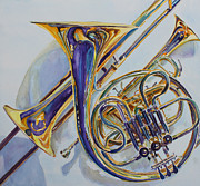 Trio Painting Posters - The Glow of Brass Poster by Jenny Armitage