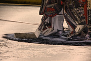 Ice Skates Photos - The Goalies Crease by Karol  Livote