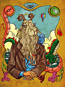 Goat Mixed Media Posters - The Goatman Poster by Baird Hoffmire